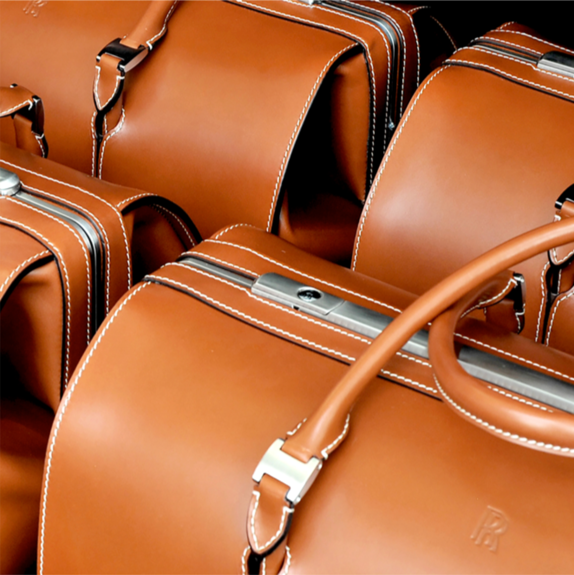 A shot showing the Rolls-Royce Phantom Luggage Collection made from the finest full-grain saddle leather