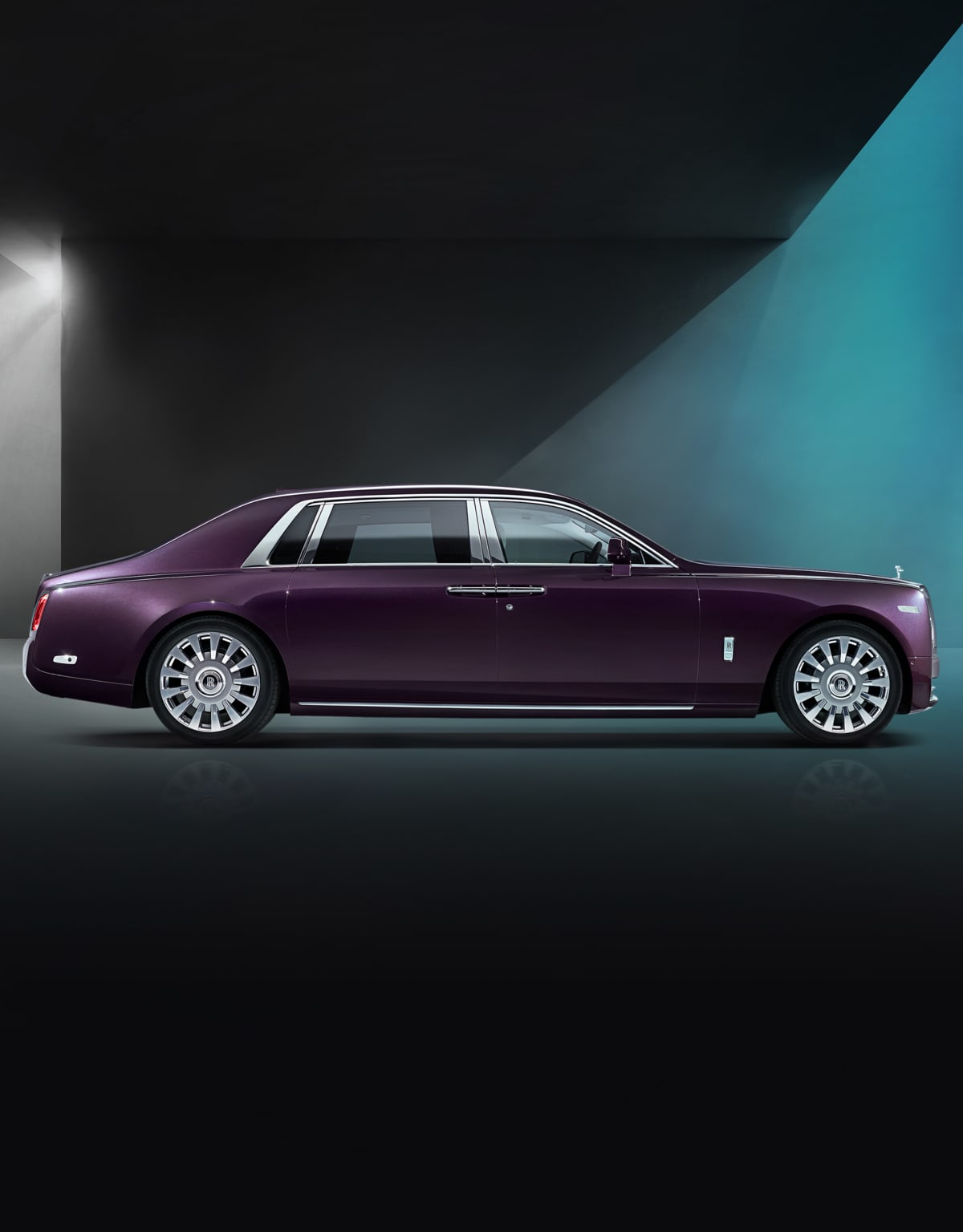 Side profile exterior of Rolls-Royce Phantom Extended Wheel Base motor car.