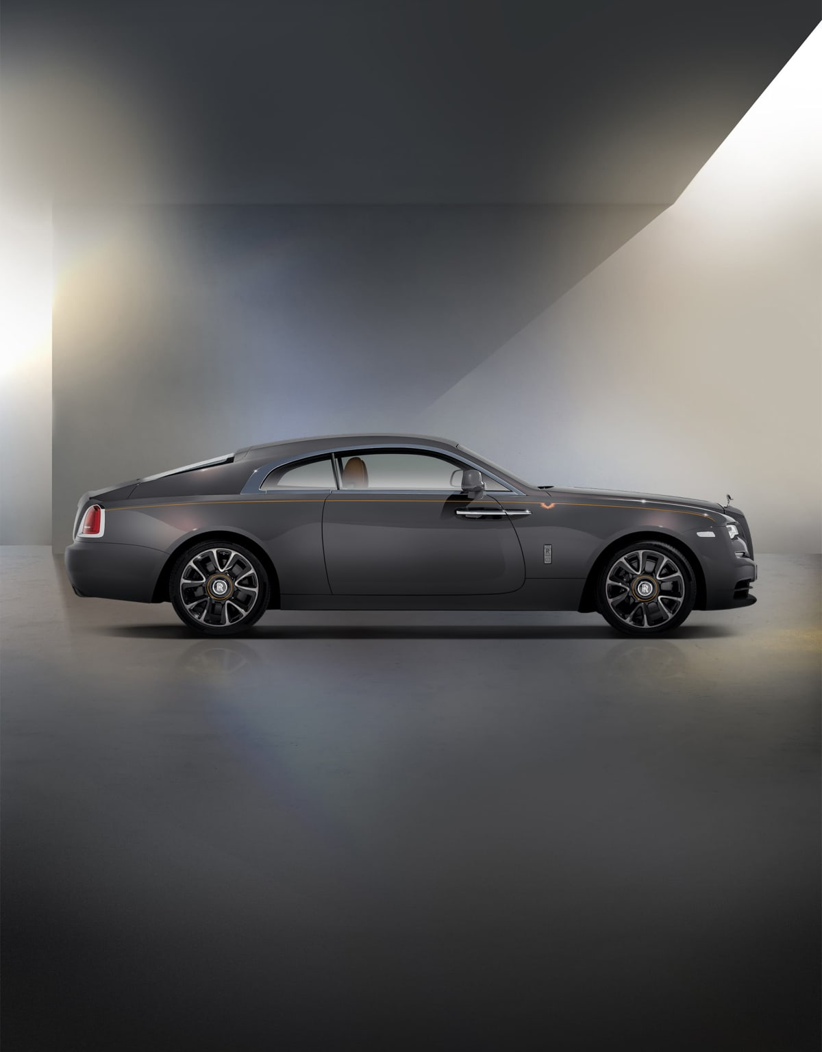 Side profile exterior of Rolls-Royce Wraith motor car.