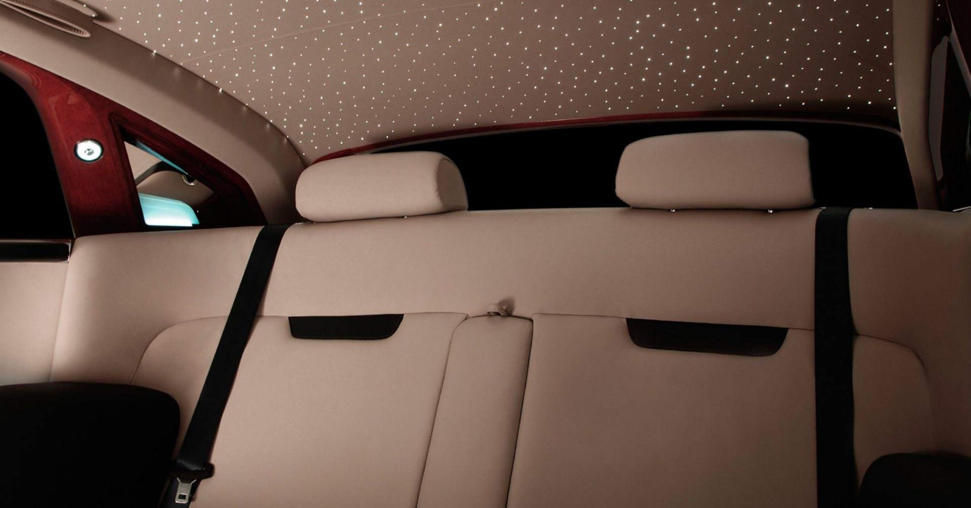 Interior shot of a prototype electric vehicle by Rolls-Royce motor cars, showcasing the starlight headliner.