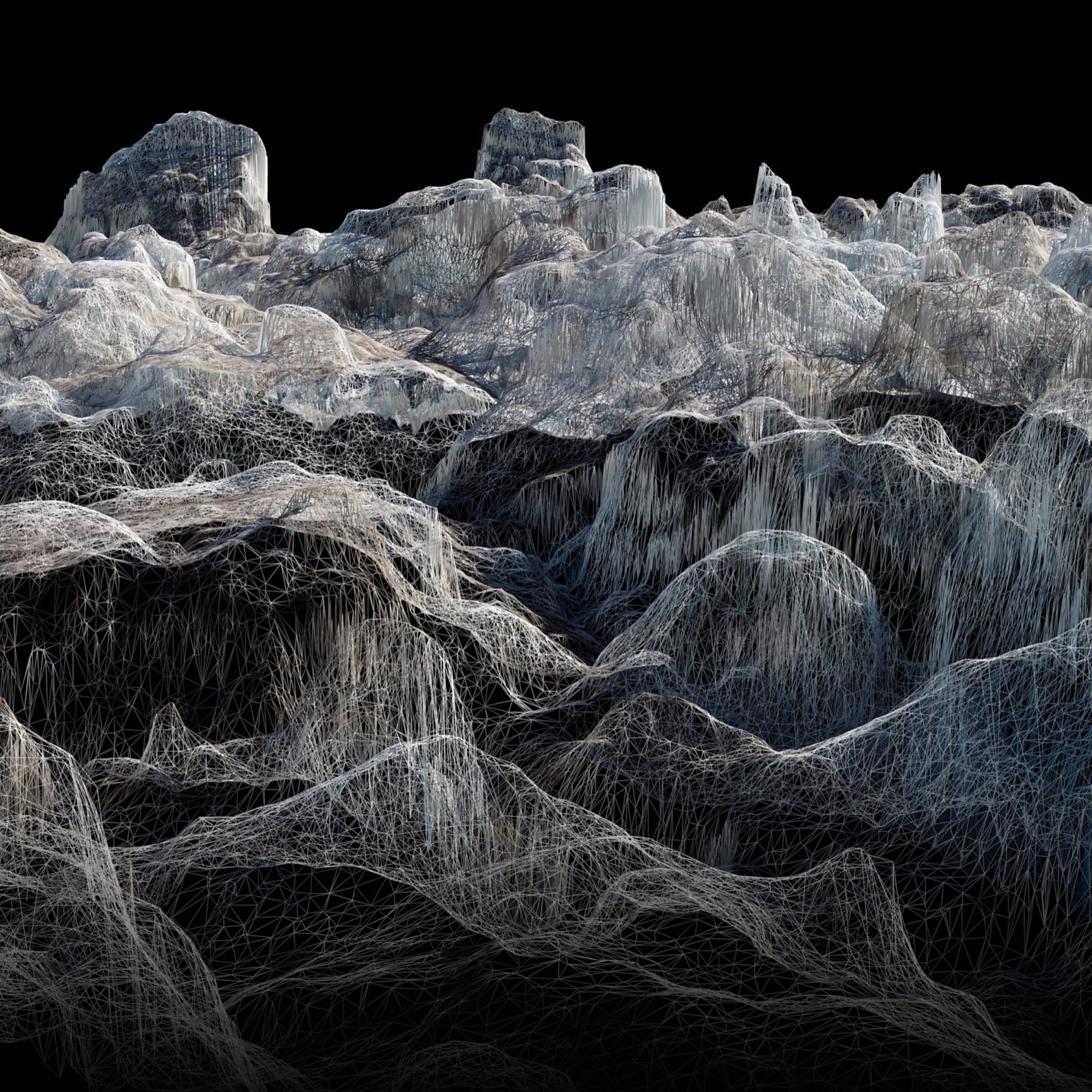 Dan Holdsworth's 'Acceleration Structures' explores and examines the topography of three great Alpine glaciers using geomapping technology, like no artist has done before.