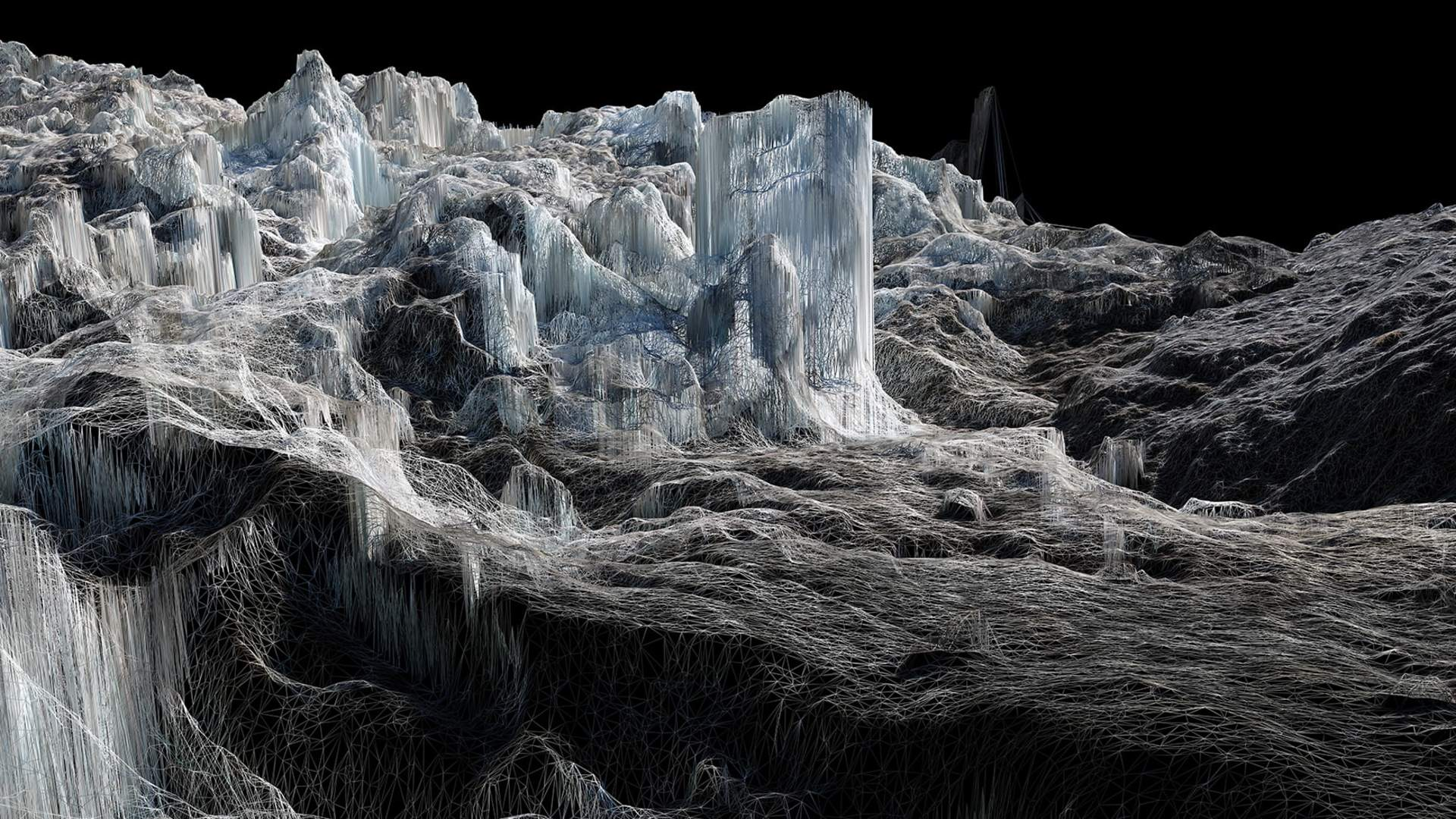An art piece from Dan Holdsworth commissioned by Rolls-Royce to explore and investigate both real and virtual representations of a frozen landscape.
