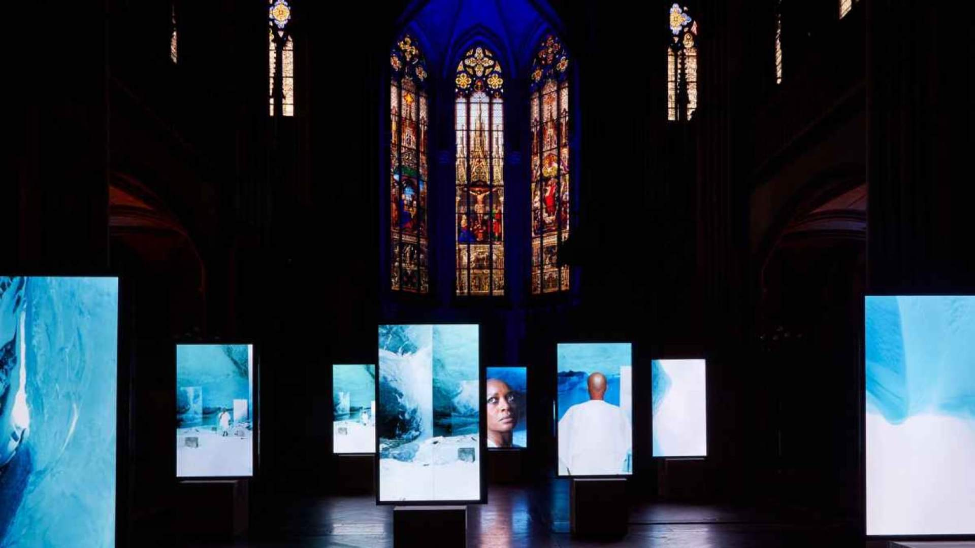 Isaac Julien's Stones Against Diamonds cathedral installation for the Basel 2015 exhibition.
