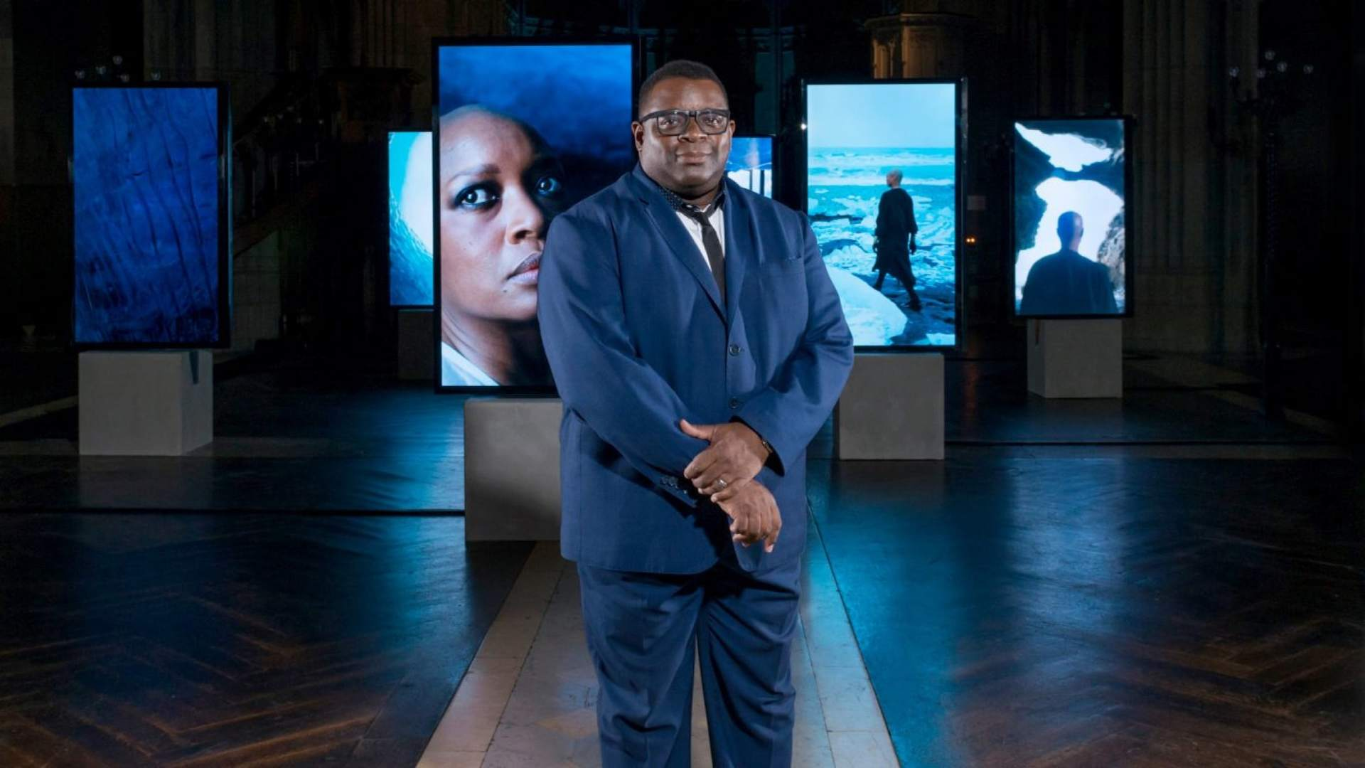 Isaac Julien showcasing some of the pieces from the Stones Against Diamonds collection.