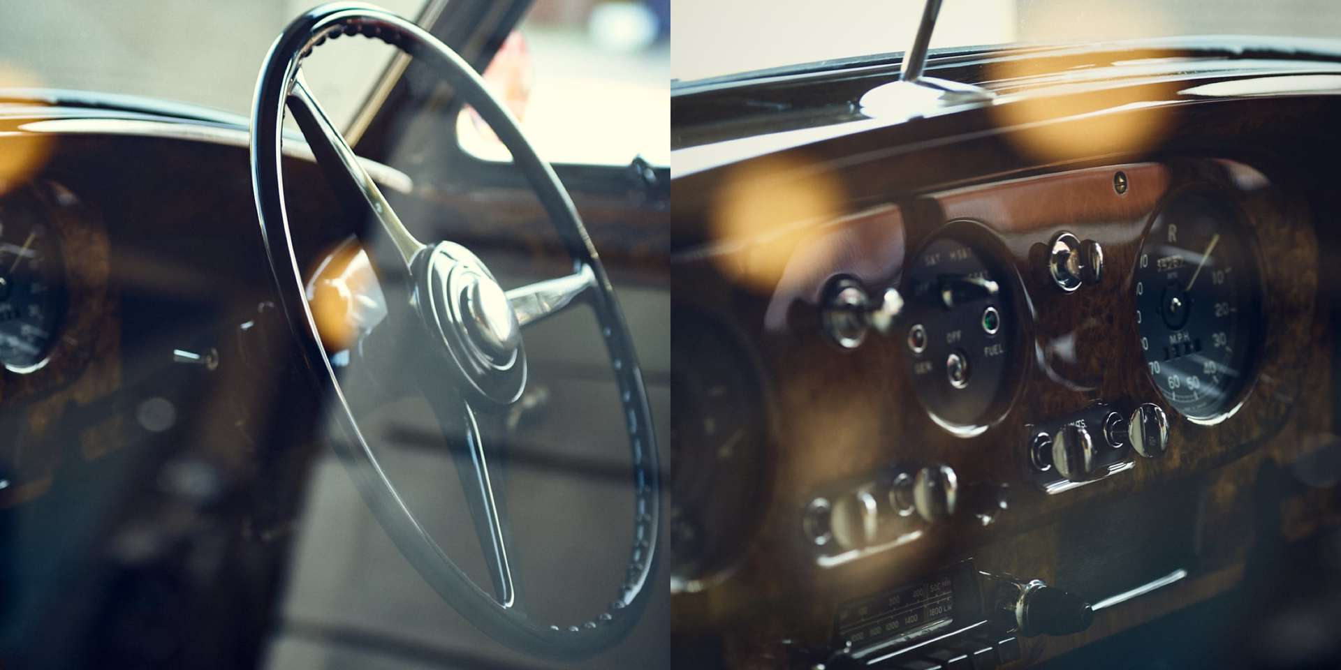 Close up of a steering wheel featured at the Rolls-Royce Goodwood Revival event