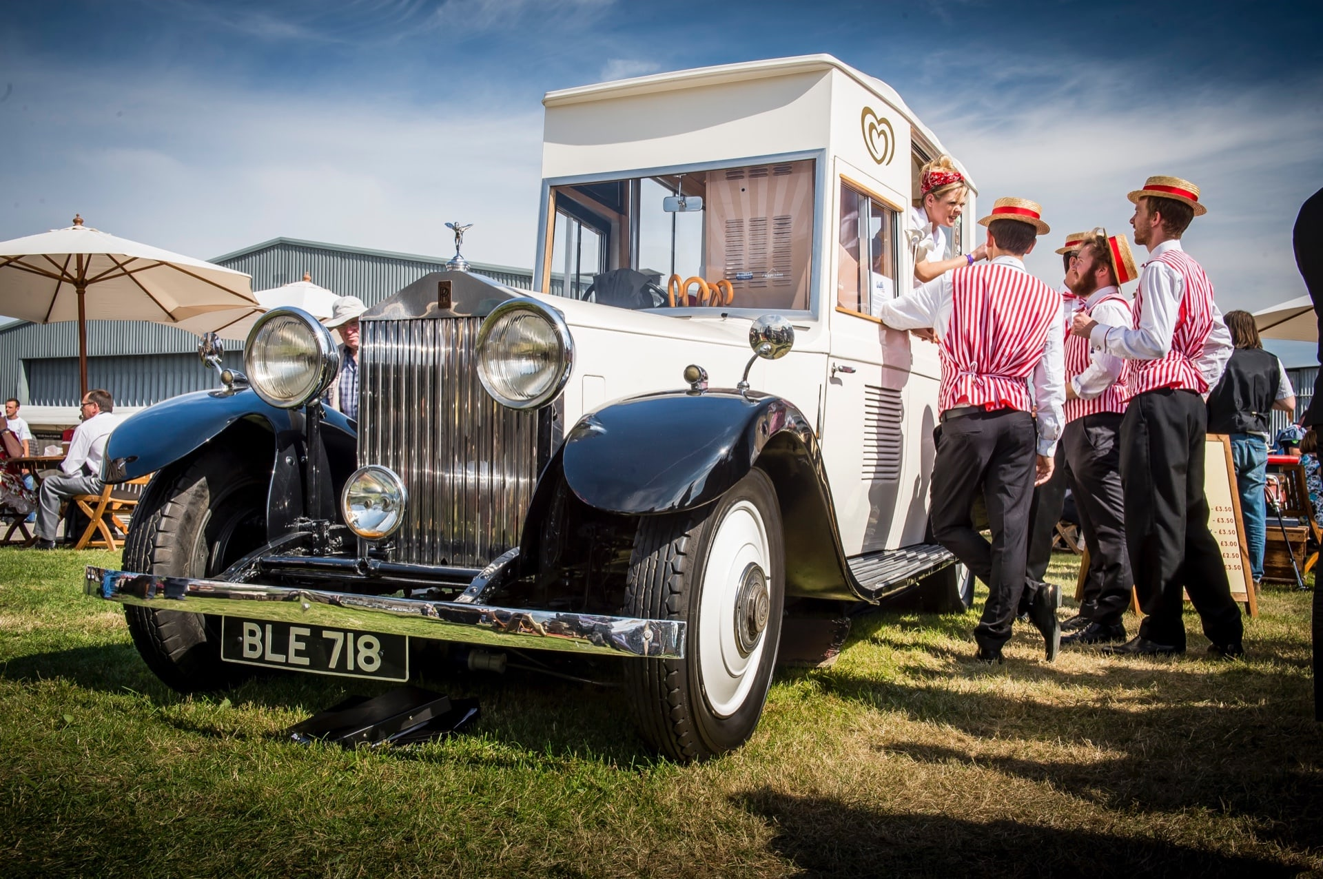 Rolls-Royce car converted into an ice cream van at the Rolls-Royce Goodwood Revival experience.