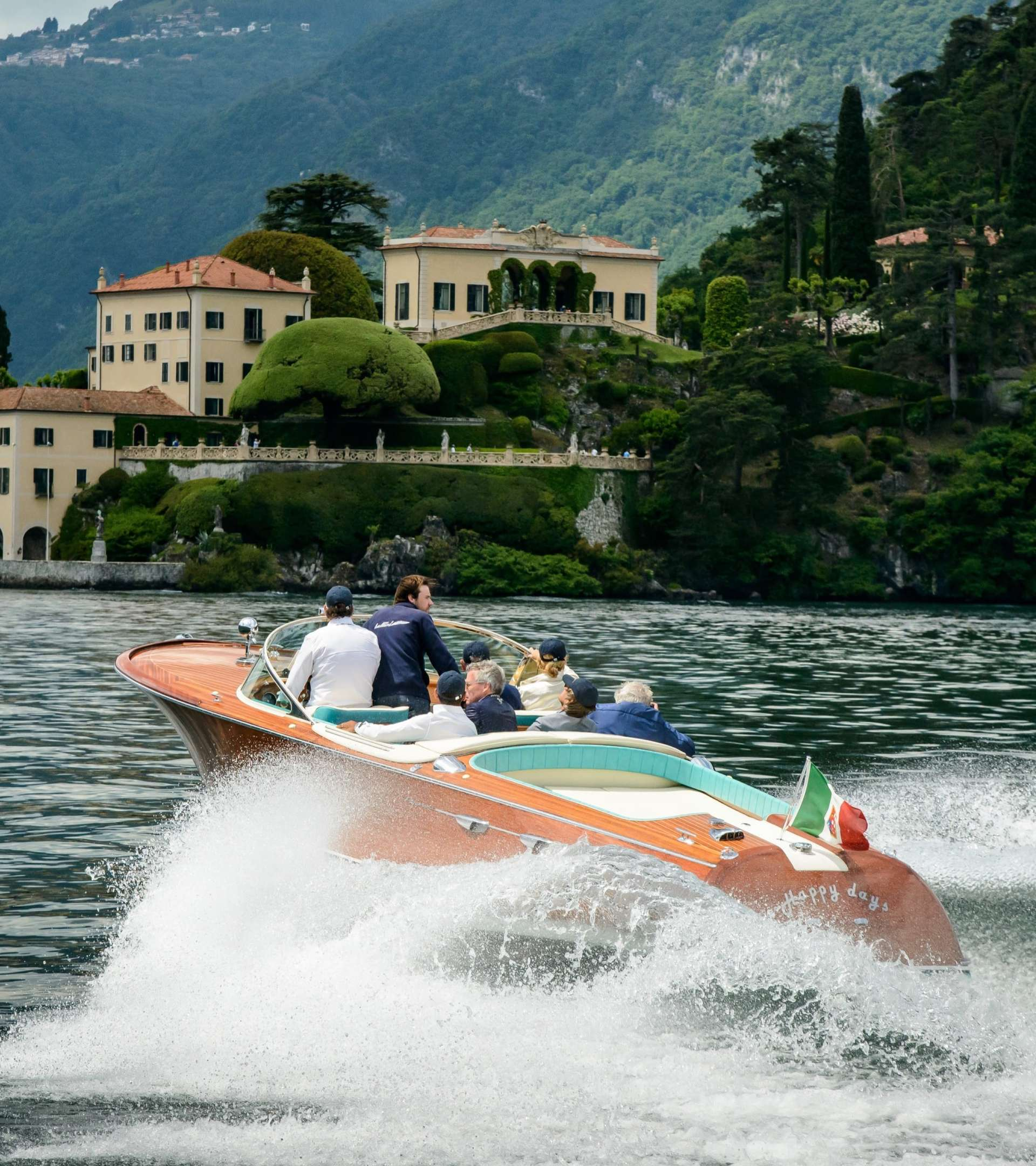image of a speed boat on lake como