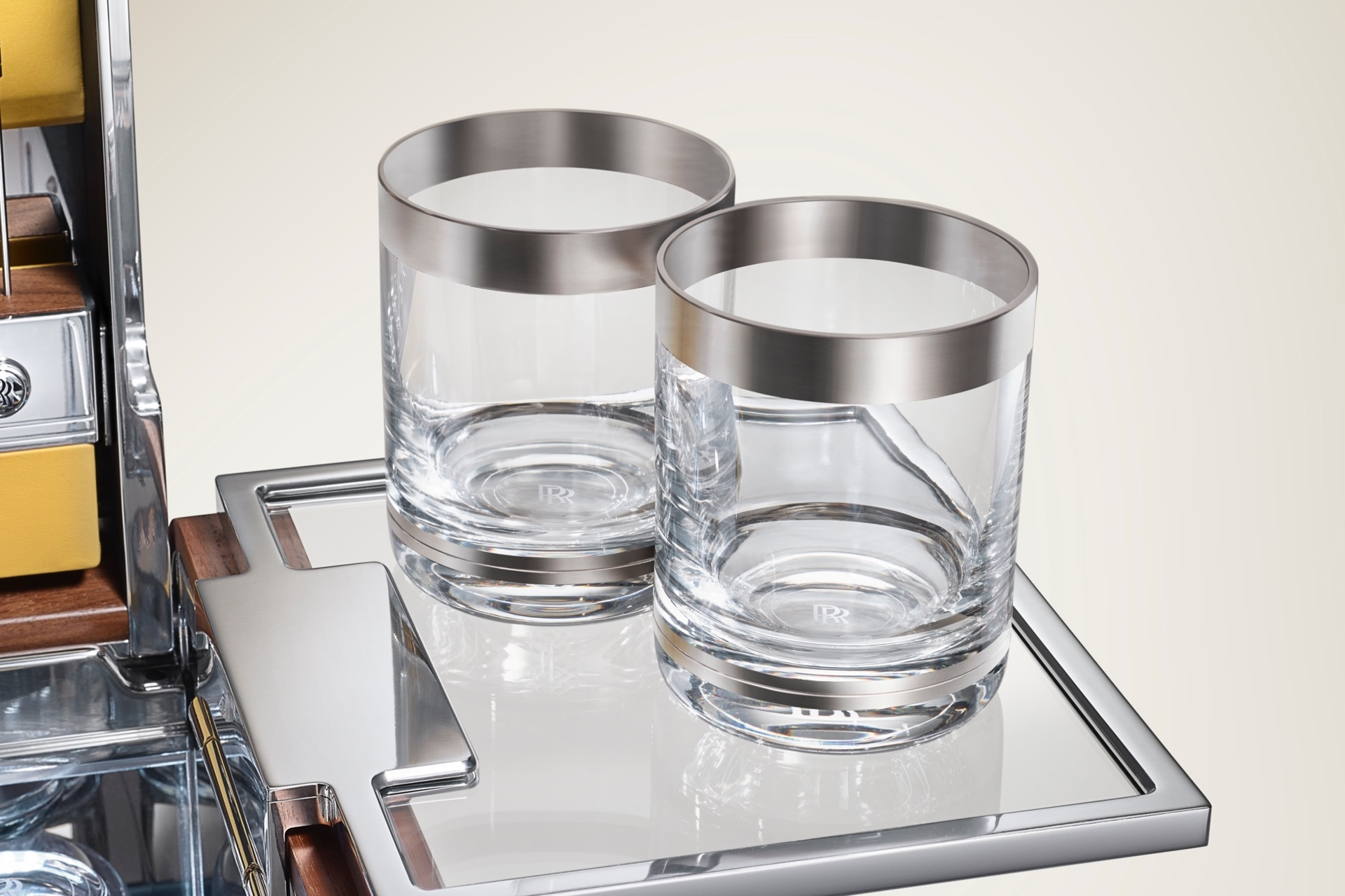 The bespoke Rolls-Royce cocktail glasses