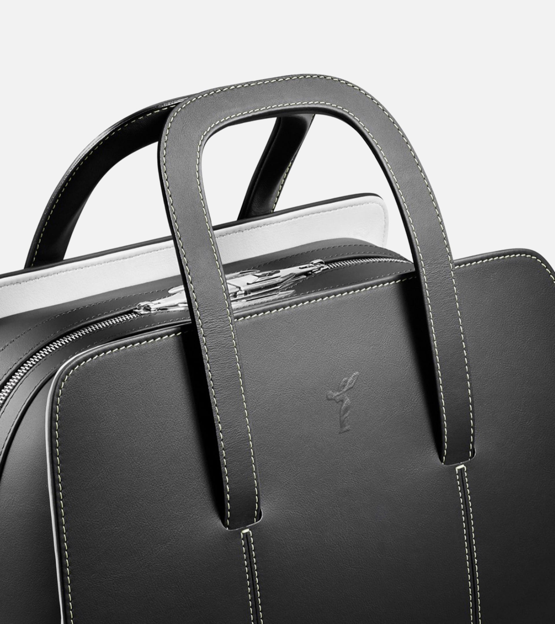 The two tone leather Long Weekender luggage with the spirit of ecstasy embossing