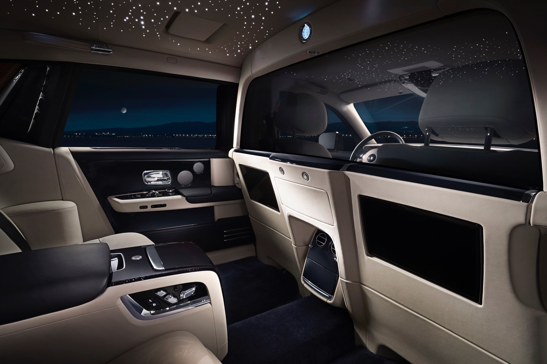 A inside view of the Rolls-Royce's Phantom suite.