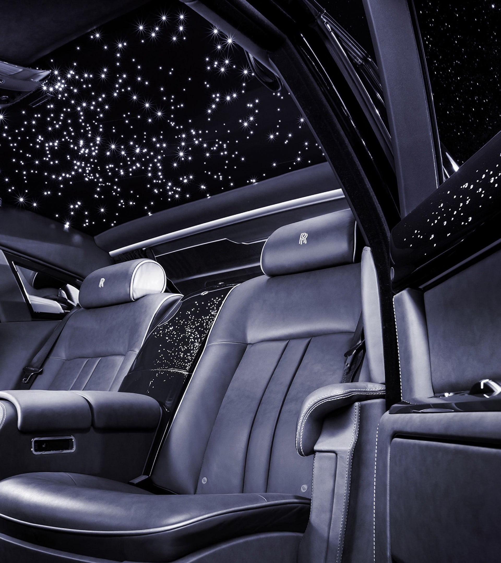 The interior of the one of a kind Celestial Phantom, featuring over 1,000 hand woven fibre optic lights.