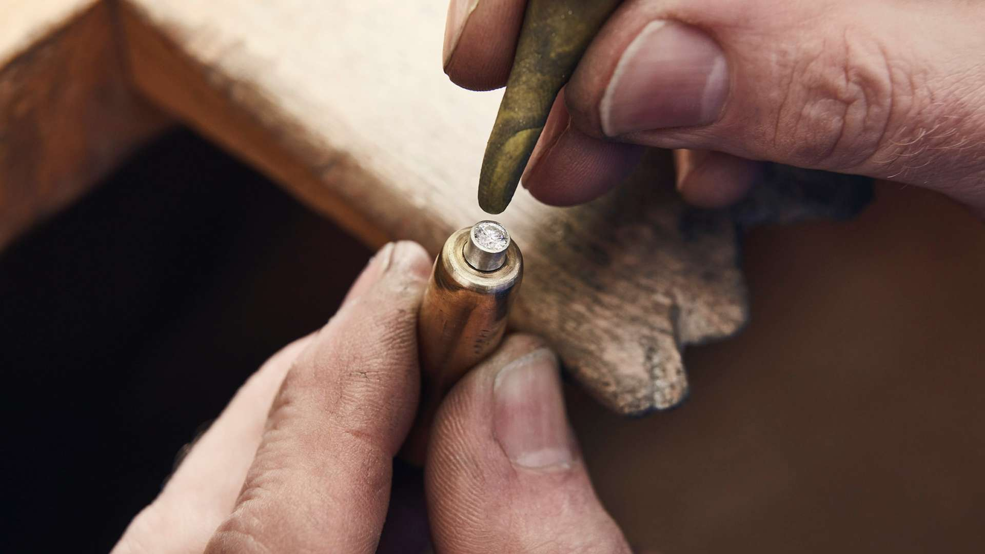 A close up of a craftsman at work on the Fox Silver Bespoke Phantom Gallery