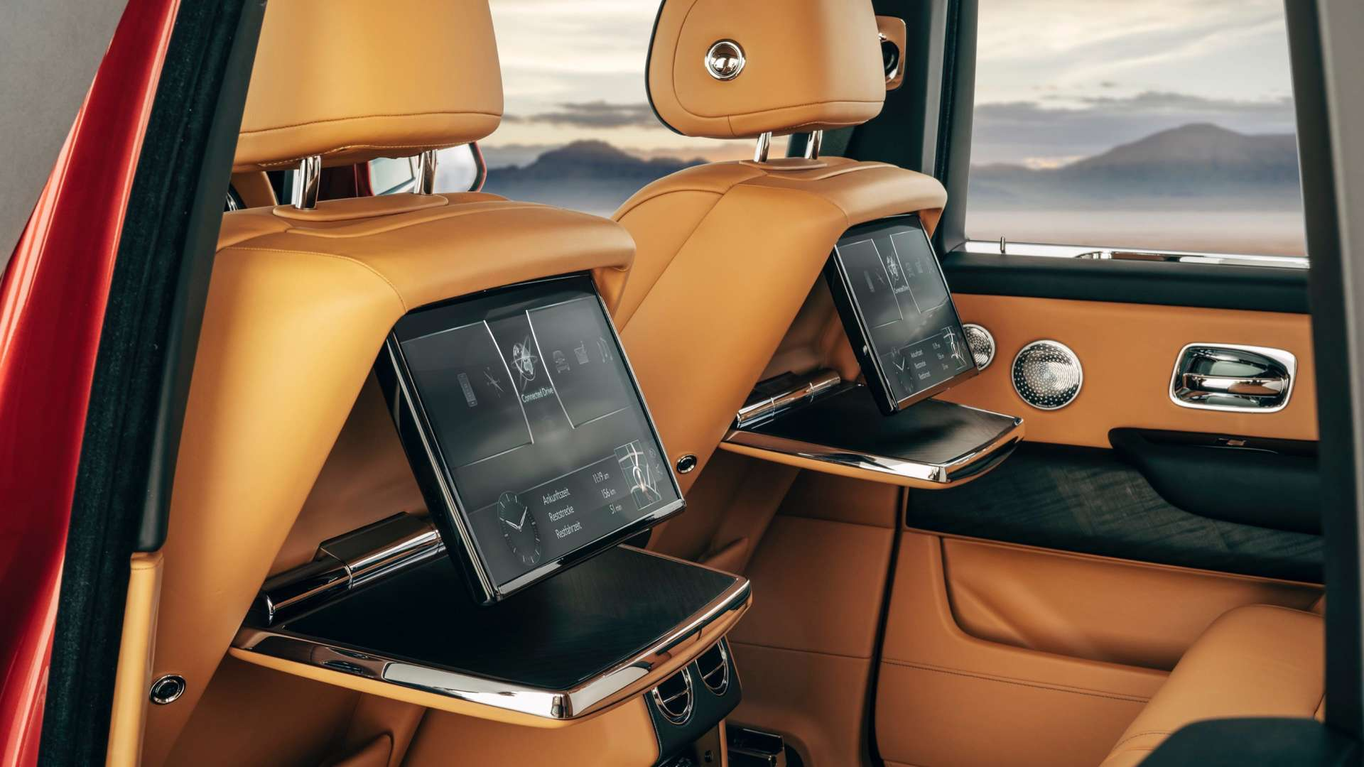 The rear TV screens in operation in the Rolls-Royce Cullinan.