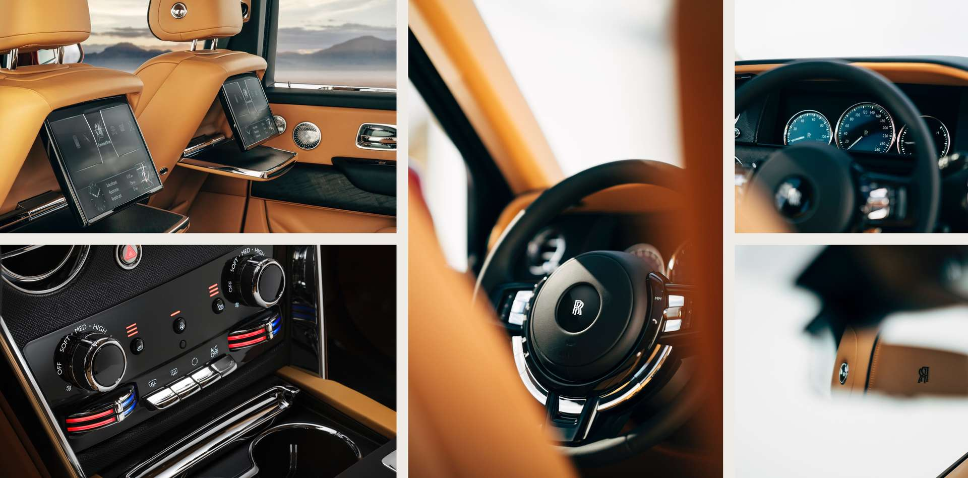 Multiple images of the interior of a Rolls-Royce Cullinan motor car