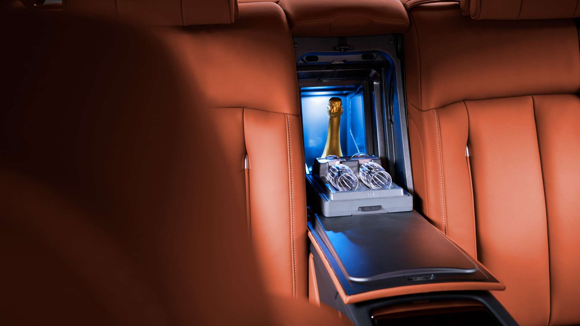 The champagne cooler in the rear of the Rolls-Royce Phantom.