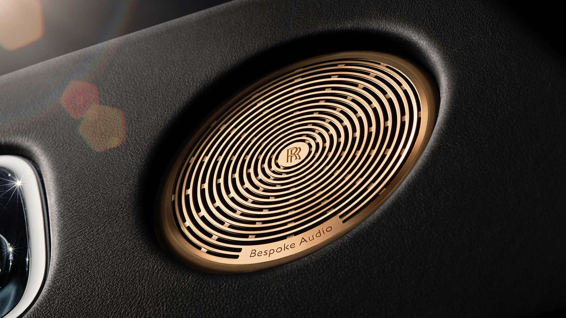 A close up of the bespoke audio system in a Rolls-Royce Phantom Motor Car