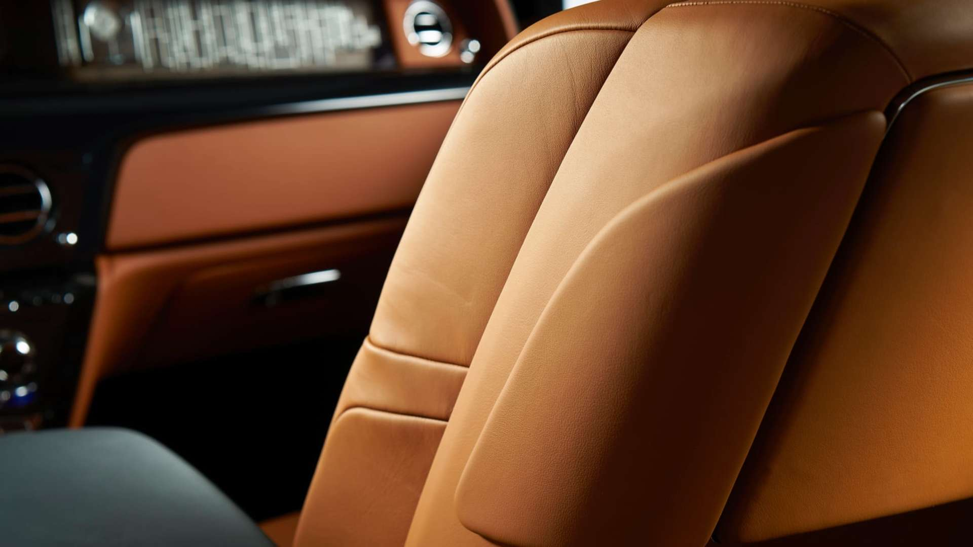 The leather interior of a Rolls-Royce Phantom motor car