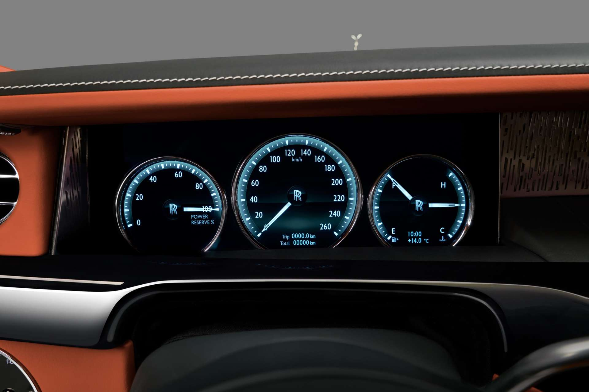 The digital dials found in the Rolls-Royce Phantom standard wheelbase.