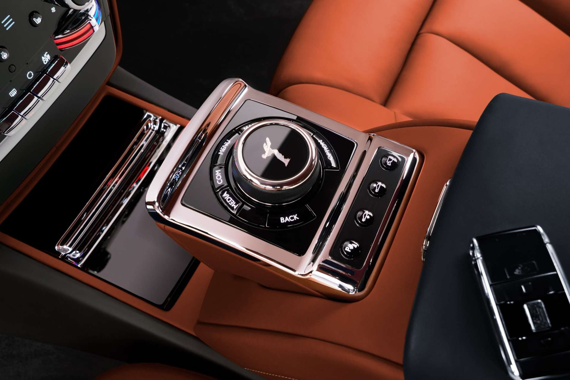 The Spirit of Ecstasy controls found in the Rolls-Royce Phantom standard wheelbase.