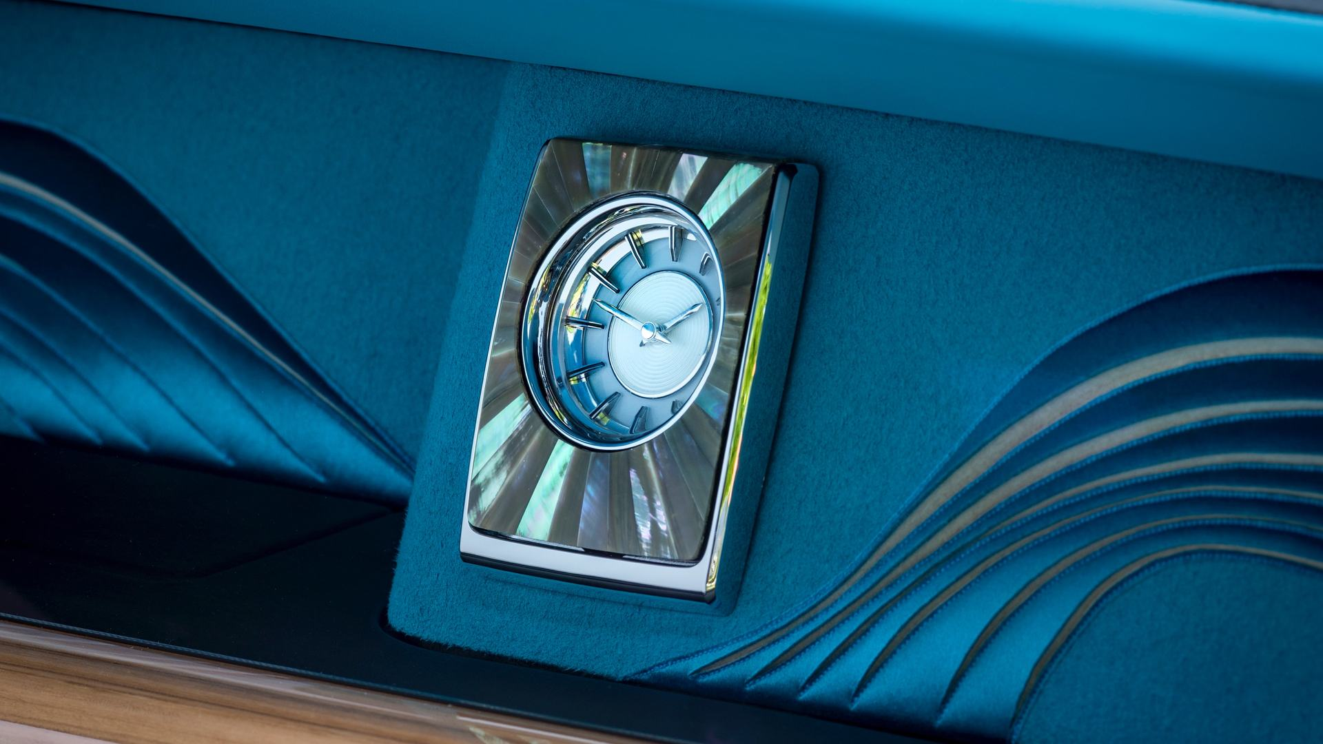 The gallery clock of a bespoke Rolls-Royce Phantom motor car