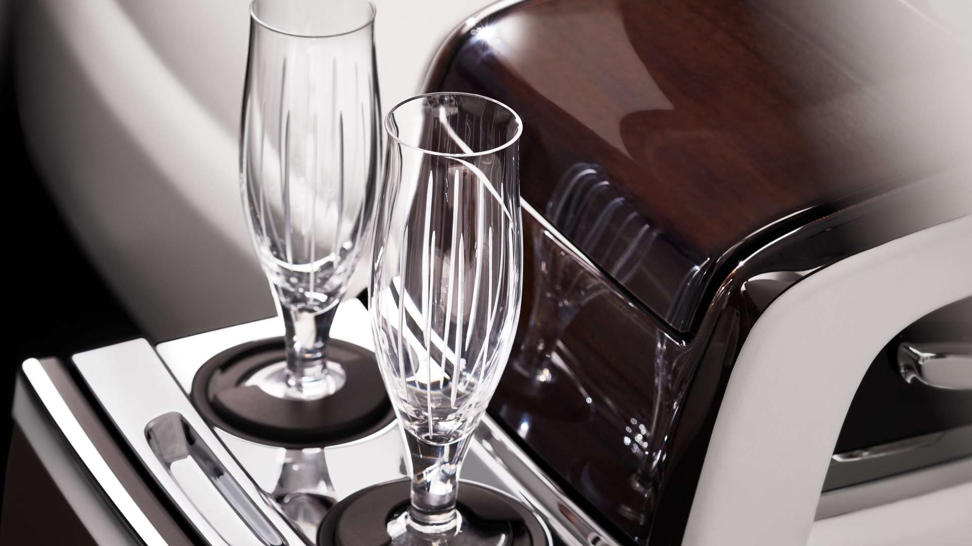 Champagne glasses inside a Rolls-Royce Phantom EWB model