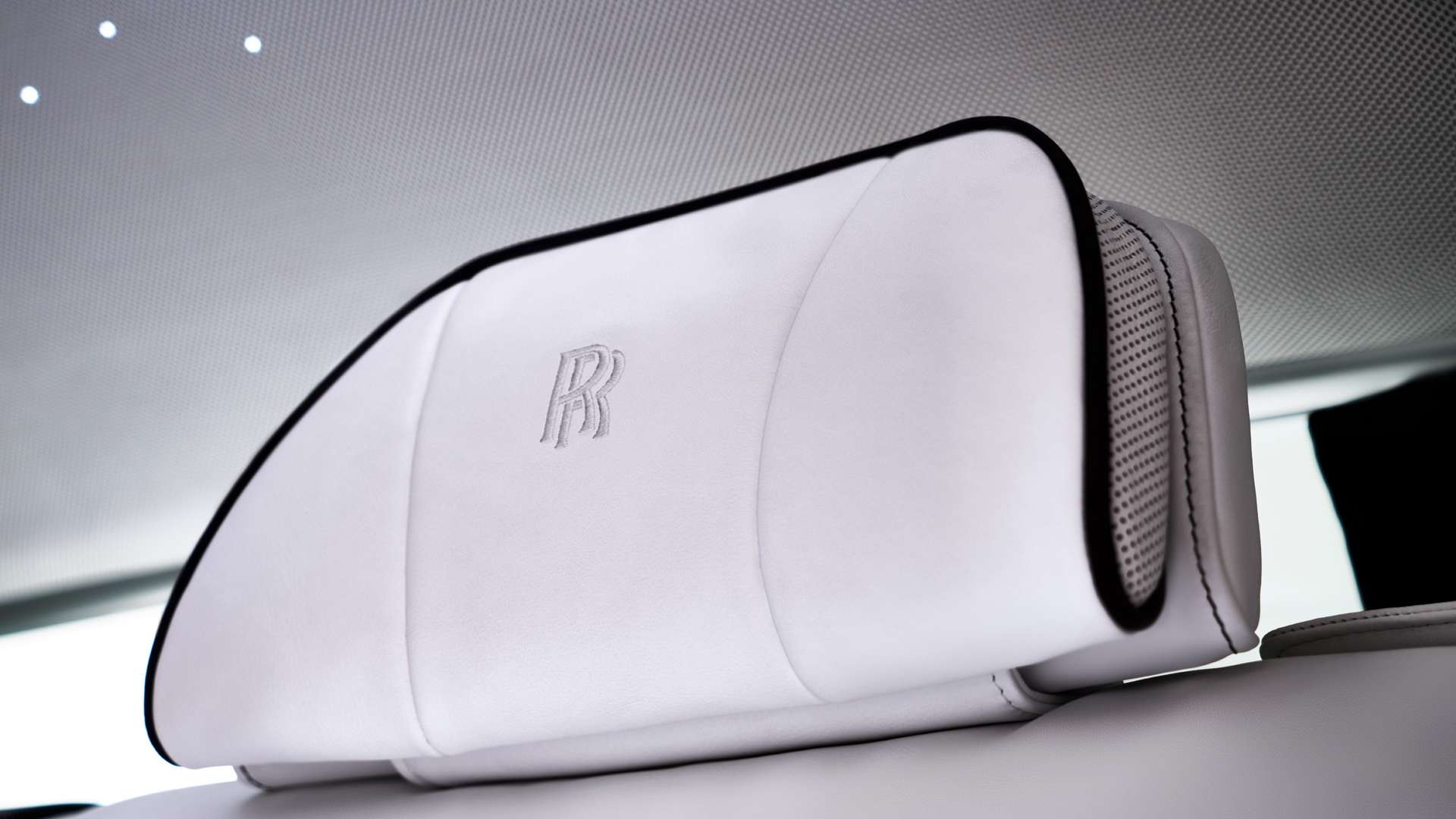 The headrest  inside a Rolls-Royce Phantom EWB model