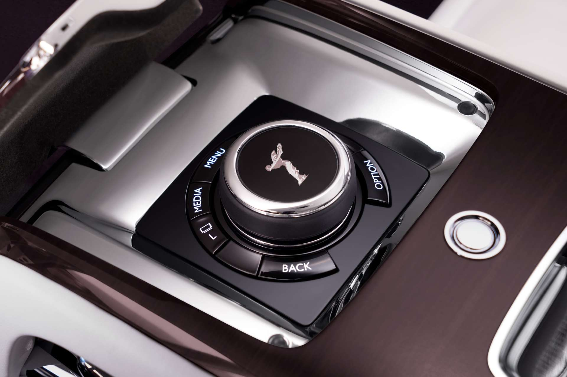 Spirit of Ecstasy controls inside Phantom extended wheelbase