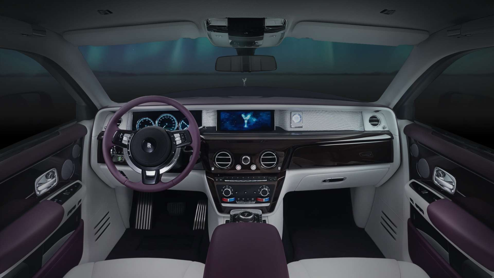 Interior and steering wheel of Rolls-Royce Phantom Extended Wheelbase