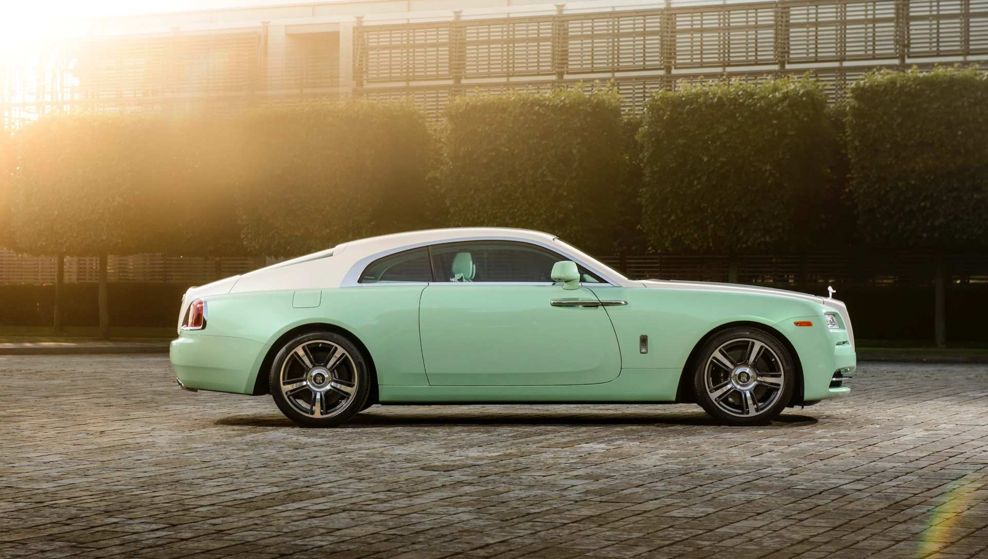 Rolls-Royce Wraith Michael Fux commission, full car profile, wide shot, lime green