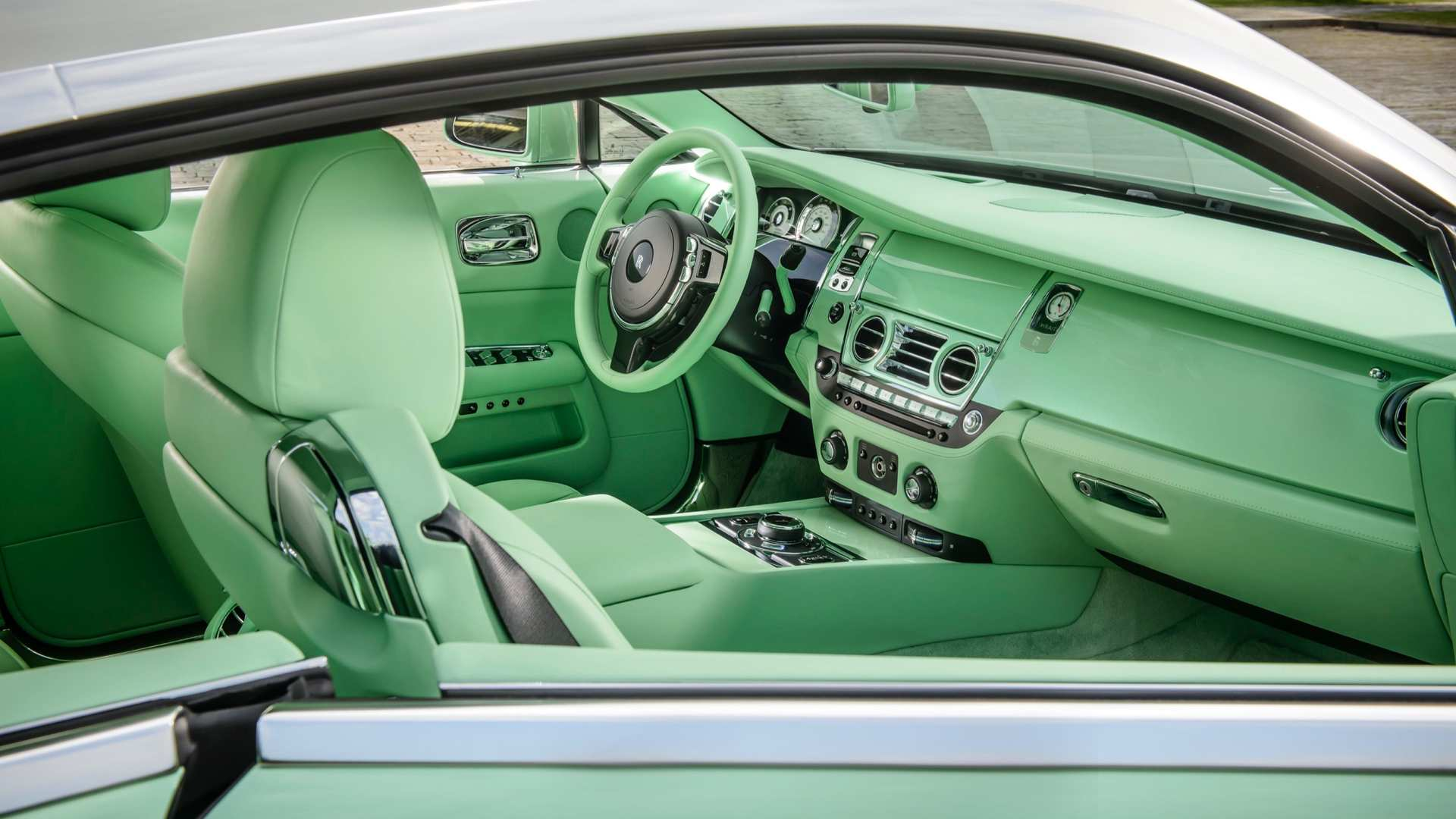 Rolls-Royce Wraith - the Michael Fux model, shot of front interior in lime Green