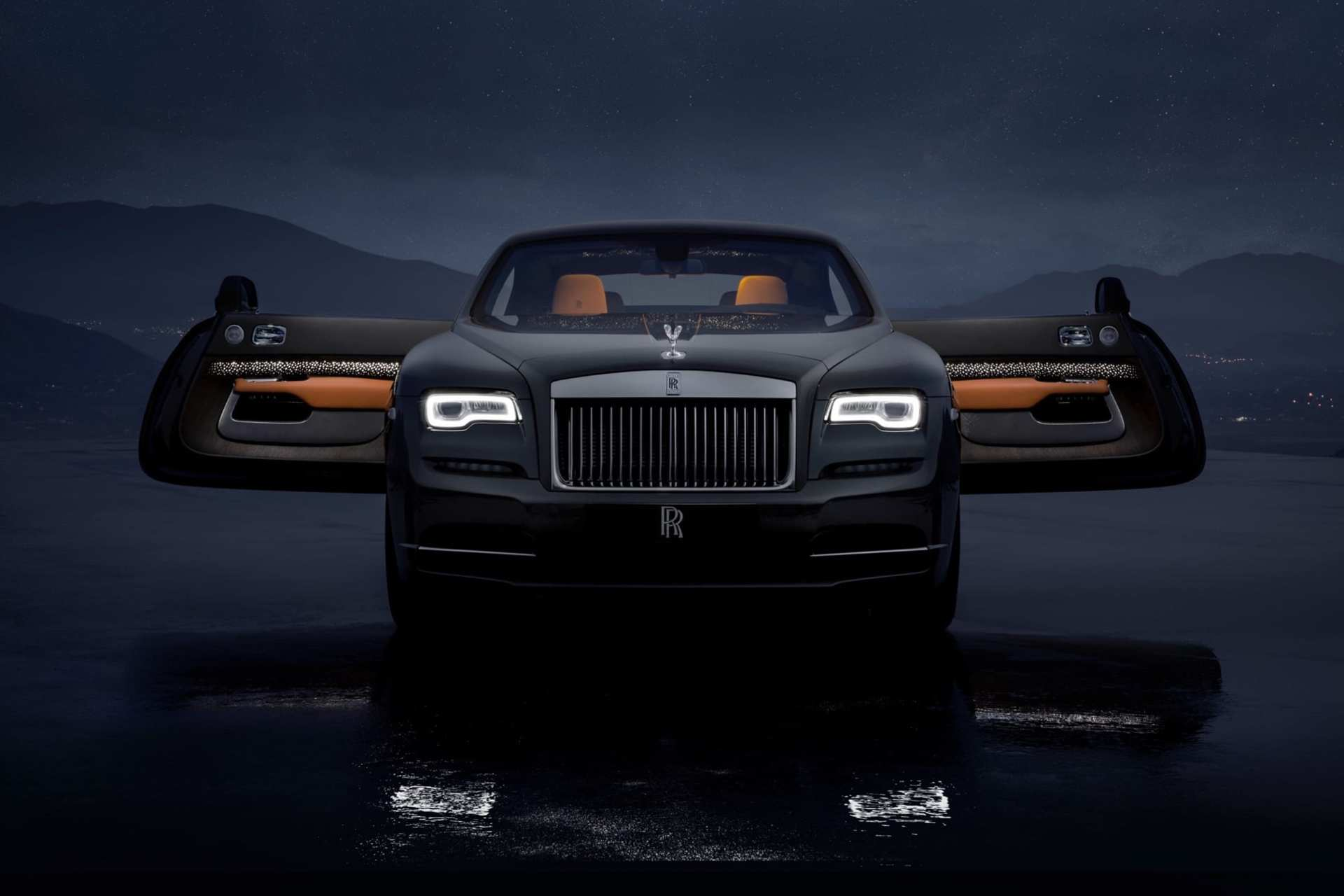 Rolls-Royce Wraith front view, car doors open, dark shot with headlights on, Luminary collection