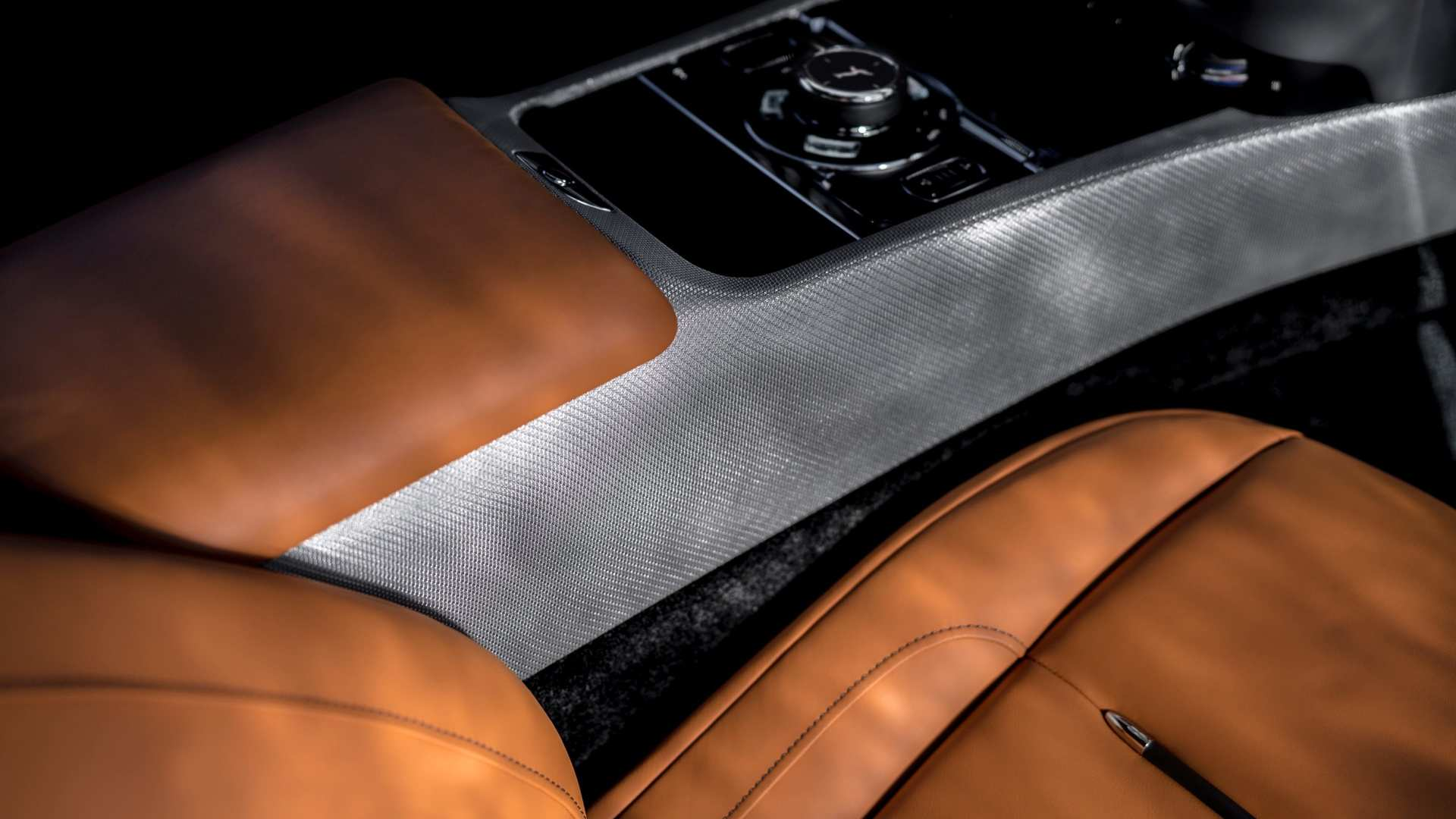 Rolls-Royce Wraith close up control panels next to seat, luminary collection