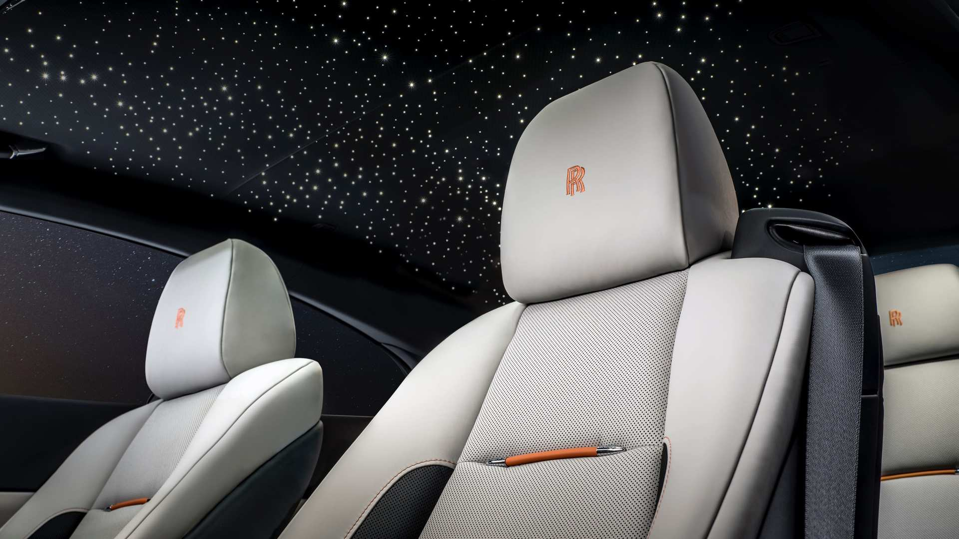 Rolls-Royce Wraith Nebula collection, close up of two front seats with skylight on