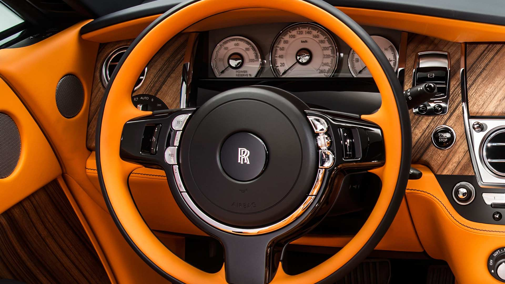 Detail of Rolls-Royce Dawn Prince of Time steering wheel