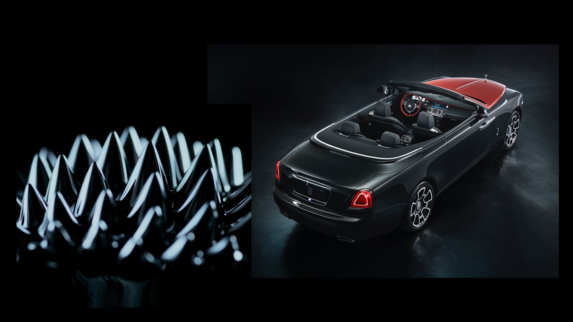 Two images combined here, one showing some texture featured in the 'What is Black Badge' video while the other a top rear view of a Rolls-Royce Black Badge Dawn with the roof down.