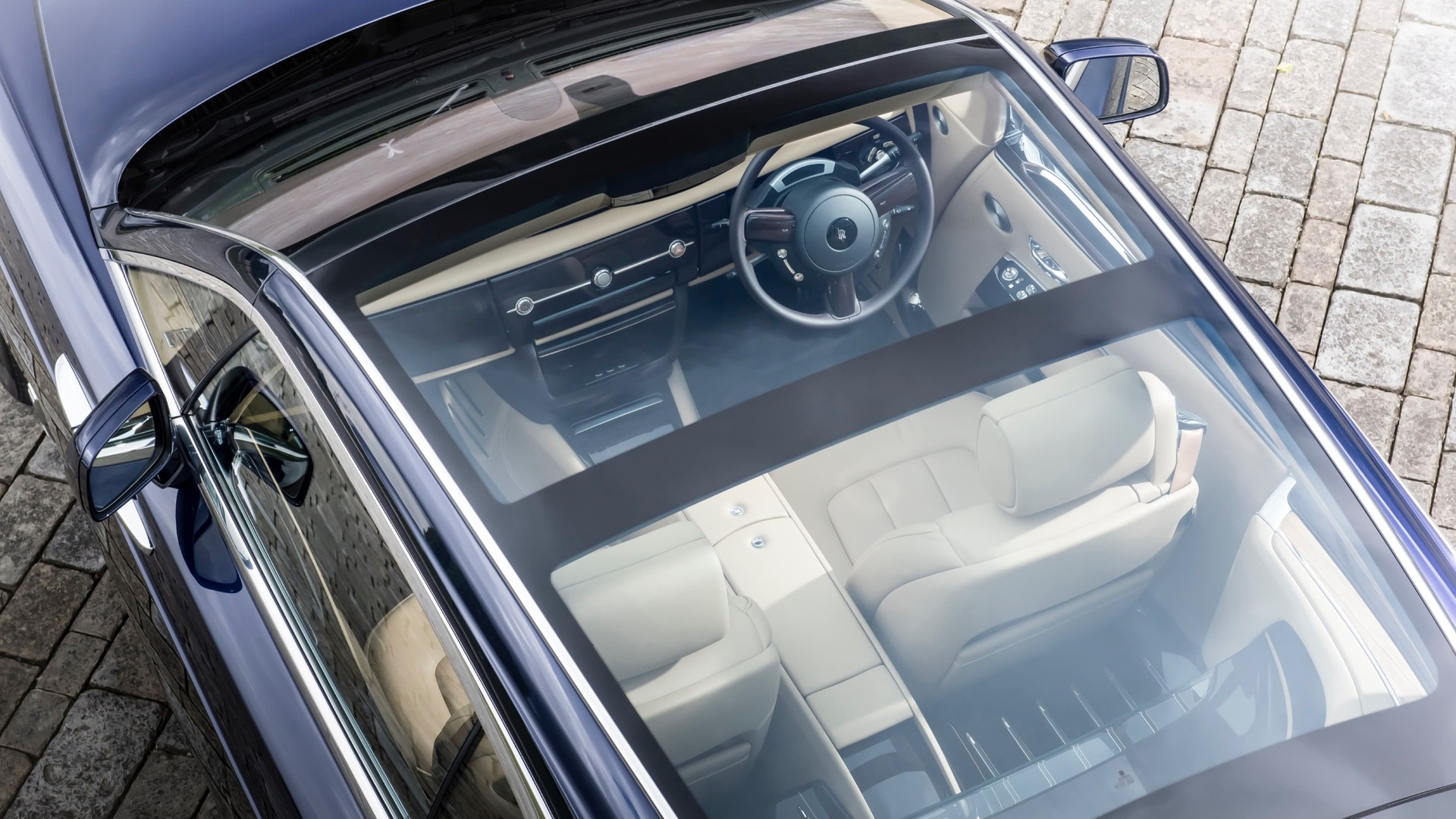 Exterior shot from above of Rolls-Royce Sweptail glass roof