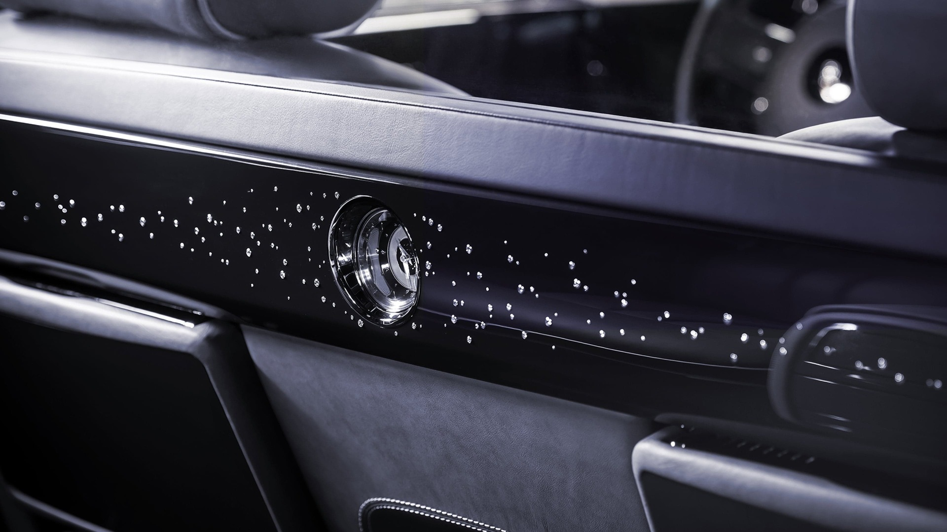 Close up interior shot of Rolls-Royce Phantom