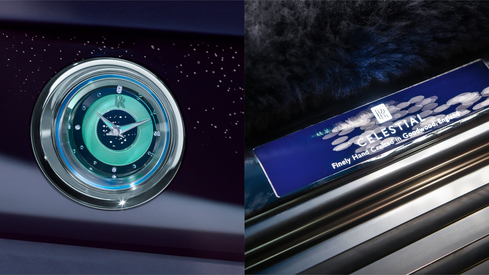 Detail shots of tread plate and clock from a Rolls-Royce Celestial Phantom