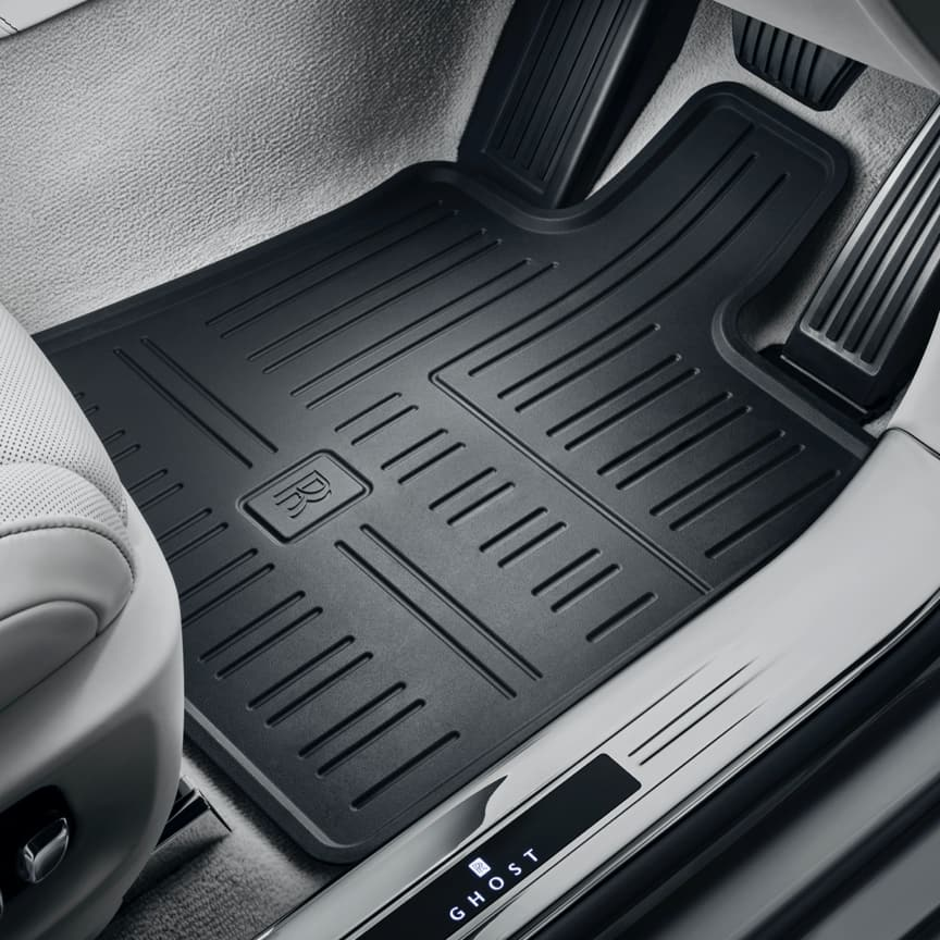 Rolls-Royce all weather floormats, sculpted with raised edges in a robust rubber