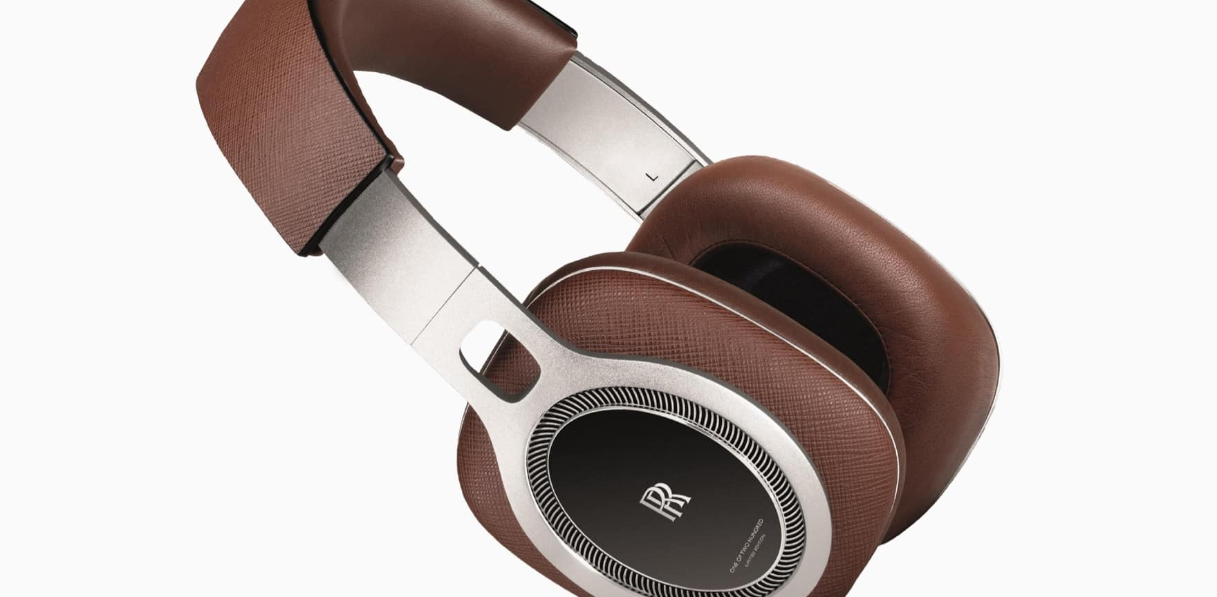 Limited edition Rolls-Royce headphones with monogram, constructed from aluminium and Saffiano brown leather for a lightweight feel