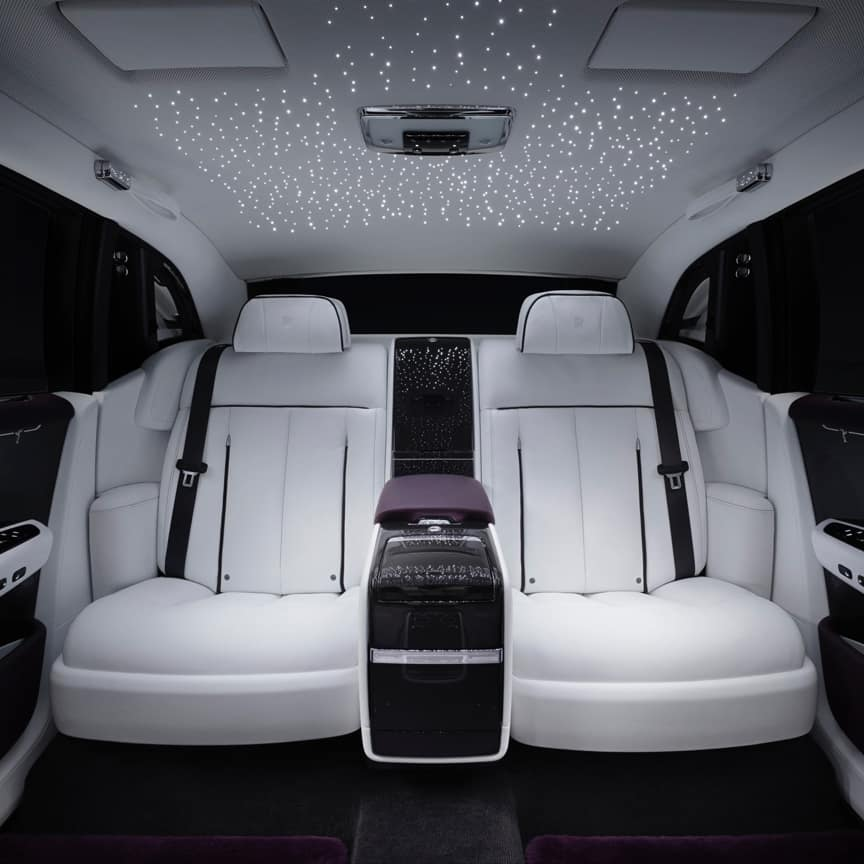 <p>Transform the roof of your car into the illusion of a star-filled night sky. This special headlining material creates a magical ambience using hundreds of fibre-optic lights. The controls in the front passenger compartment allow you to adjust the brightness of the 'stars' to fashion just the right atmosphere.<br> <br> First, the leather is perforated with 800 to 1,600 holes, each carefully counted. Fibre optic lights are set into these holes. The craftsperson then ensures that the height of the fibres is correct on the concealed side, and that they're set perfectly on the visible leather surface, ready to shine.<br> </p>